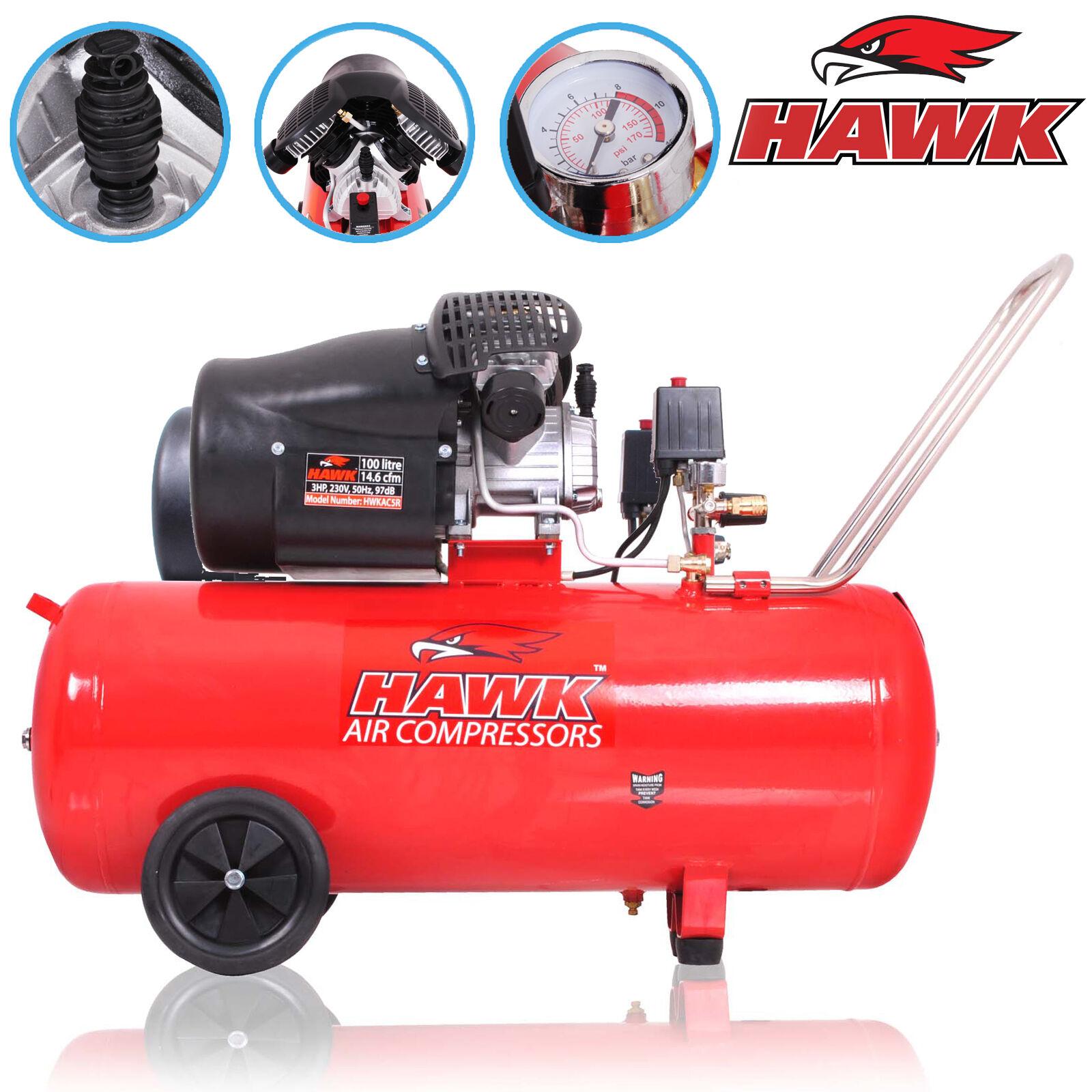 HAWK TOOLS 100l 3HP 14.6cfm TWIN V ENGINE 8 BAR GARAGE