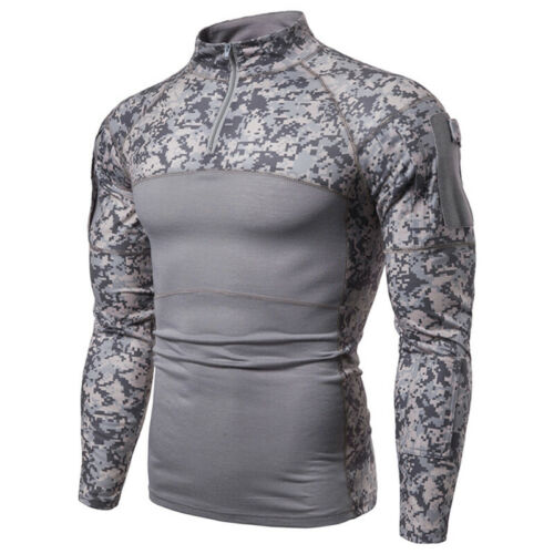Mens Camouflage Long Sleeve T-Shirt Muscle Gym Training Sport Tee Blouse Tops