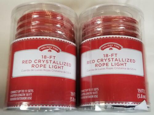 Holiday Time RED Clear Crystalized ROPE Lights 18 ft x 2 Packages = 36 feet