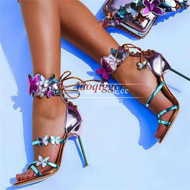 Womens High Stiletto Heel Nightclub Butterfly Ankle Strap buckle Sandals shoes