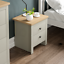 thumbnail 4 - Arlington 2 Drawer Bedside Chest of Drawers Table Cabinet Bedroom Storage Grey
