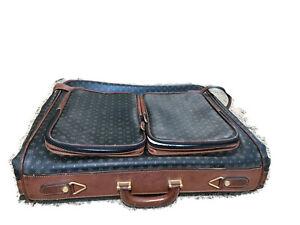 Vintage-Polliini-Rare-Logo-Monogram-Brown-Leather-Garment-Bag-Luggage-Italy