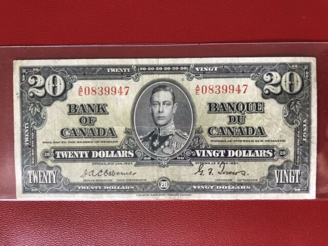 1937 Rare Bank Of Canada $20 Banknote Osborne-Towers Crisp VF+ Condition