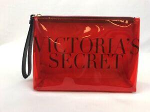 NWT-Victoria-039-s-Secret-Women-039-s-Red-Clear-Front-Zipper-Close-Beaty-Clutch