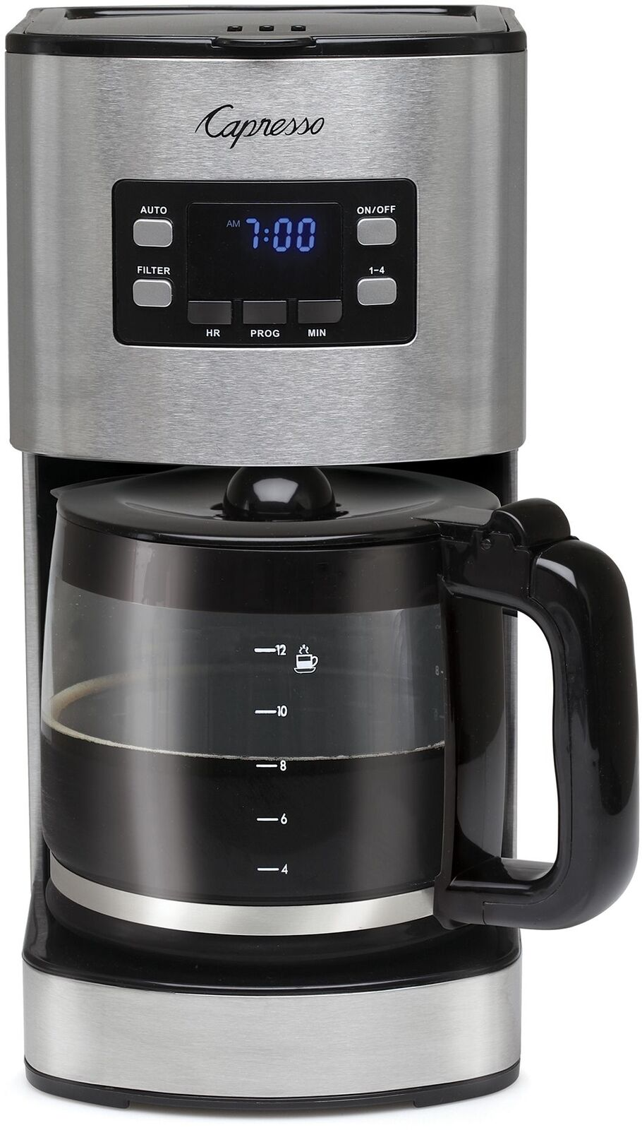 Coffee Maker Drip 12 Cup Stainless Steel w  Carafe Coffee Scoop gold Tone Filter