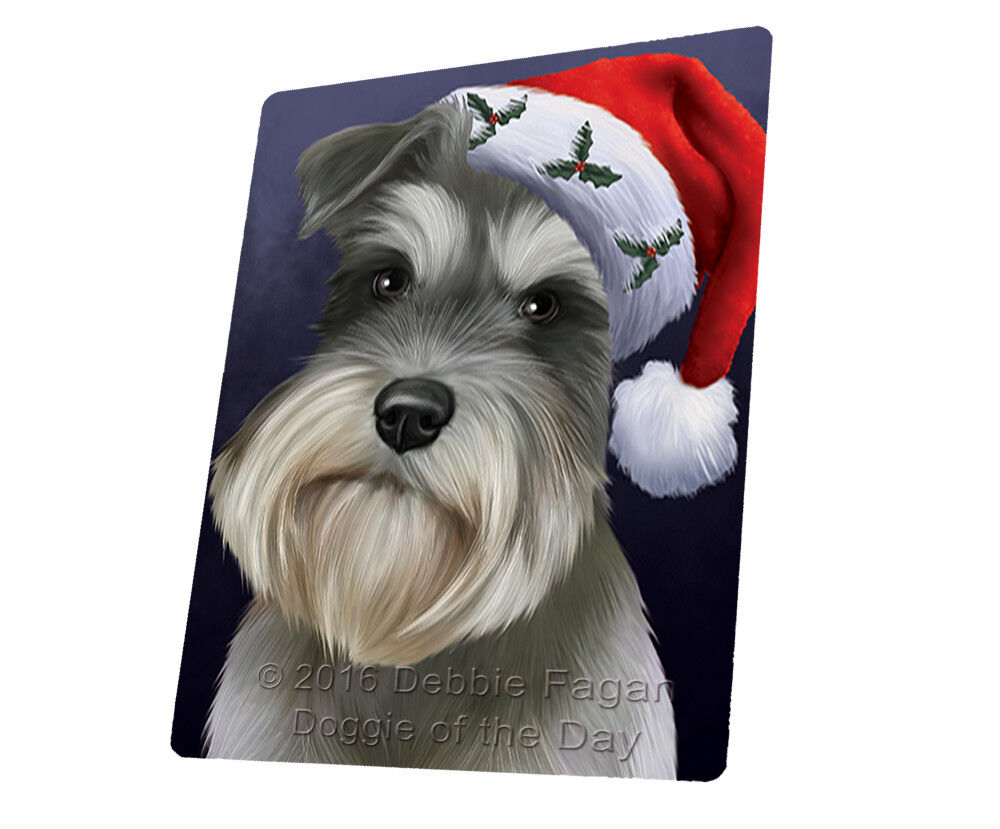Christmas Schnauzers Hund Holiday Santa Hat Woven Throw Sherpa Blanket T438