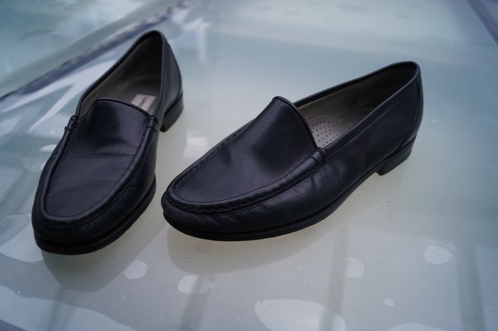LORENZO BANFI Damen Luxus Schuhe Leder Mokassins Slipper Gr.37 schwarz Leder Schuhe TOP #2k 38b256