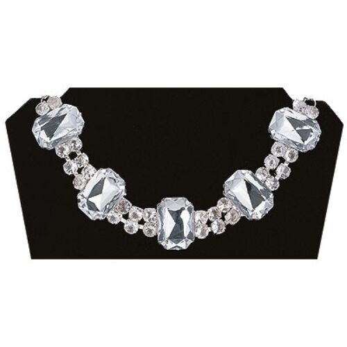 ADULT WOMENS CLEAR DIAMOND GEM CHOKER 1950S 20'S COSTUME NECKLACE CHOKER 30122