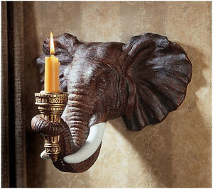 2 Exotic African Elephant Candle Holders Wall Sconce
