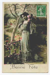 c 1910 Glamour Woman Women PRETTY LADY Fashion French photo postcard