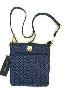 watch coupon codes huge discount Details about TOMMY HILFIGER NAVY BLUE JACQUARD NS XBODY CROSSBODY W/CHAINS  SHOULDER BAG NWT
