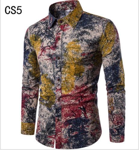 Mens Fashion Casual Long Sleeve Shirt Business Slim Fit Shirt Print Blouse Tops