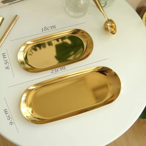Gold Tone Stainless Plate Titanium Gift Jewel Tray Decorative Nordic Home Decor