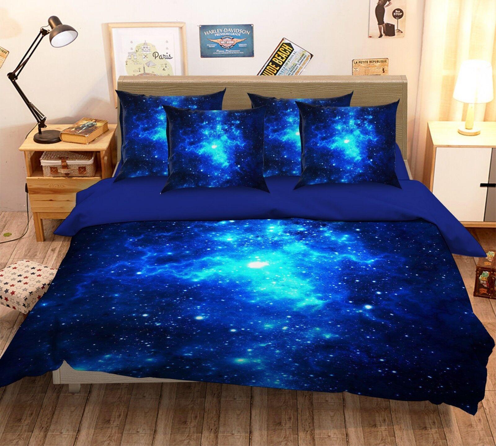 3D blu Stars Light 26 Bed Pillowcases Quilt Duvet Single Queen King US Summer