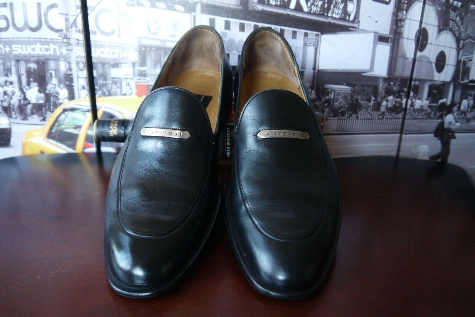 A.testoni Black Label Leather Penny Loafers Apron Toe Logo Emblem Men's US 8 D