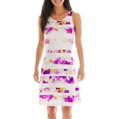 Worthington Printed Stripe Fit & Flare Dress New With Tag Sizes 8, 10, 12, 14