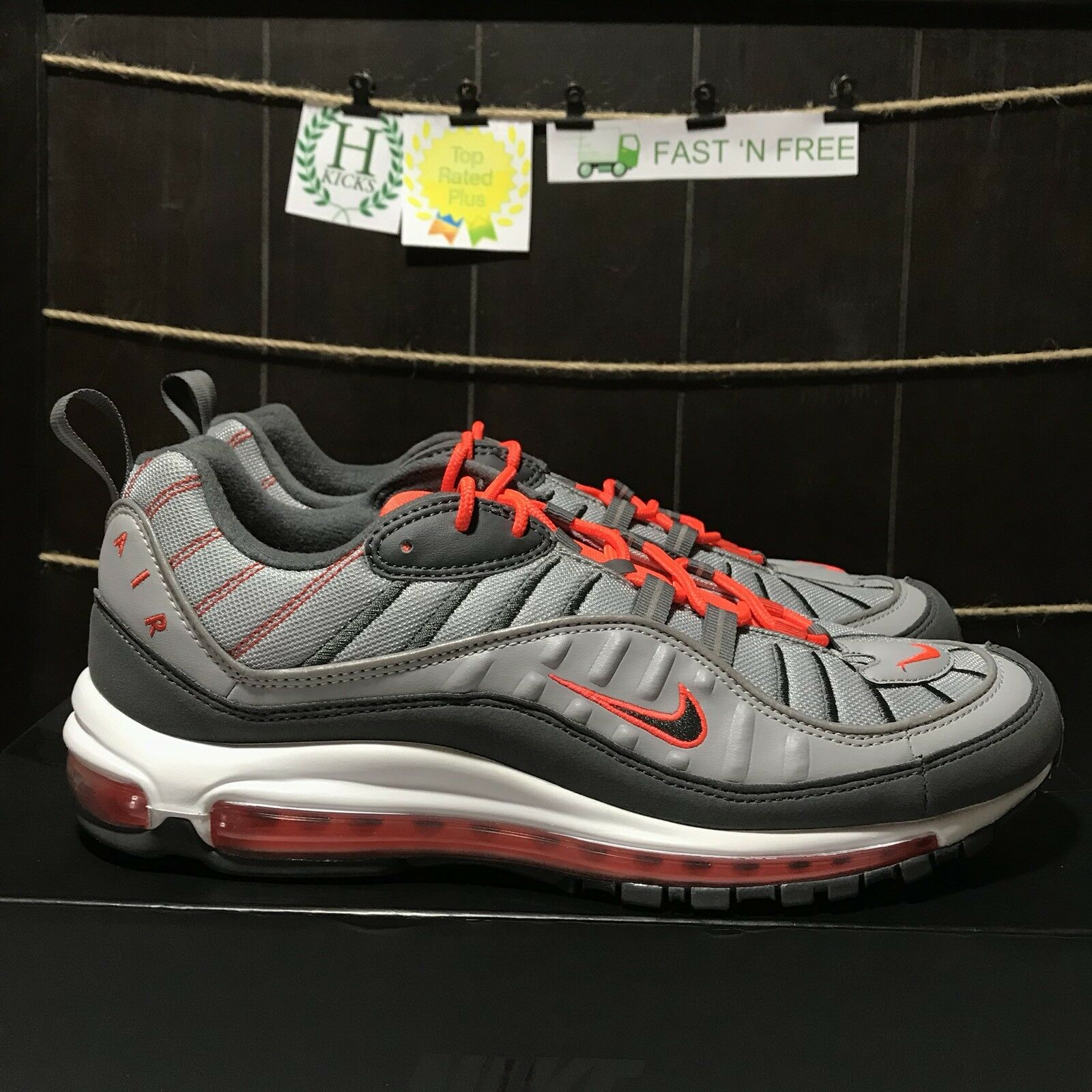 Nike Air Max 98 Wolf Grey Orange White Total Crimson 640744 006 Size 12.5