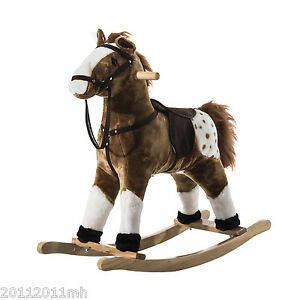 Rocking-Horse-Vintage-Classic-Plush-Stuffed-Ride-on-Toy-Coffee-Brown-w-Sound