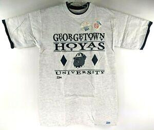 Vintage-90s-Wilson-Georgetown-Hoyas-Bulldog-Logo-Uomo-M-Tee-T-Shirt-Grigio-Nuovo