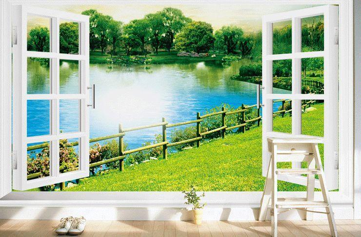 3D Den Fluss WIESE, Wald 8 Fototapeten Wandbild Fototapete BildTapete Familie DE