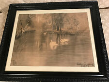 """Nice Esther Mossburg 97 """"Pond With Swans Scene"""" Charcoal Drawing - Signed/Framed"""