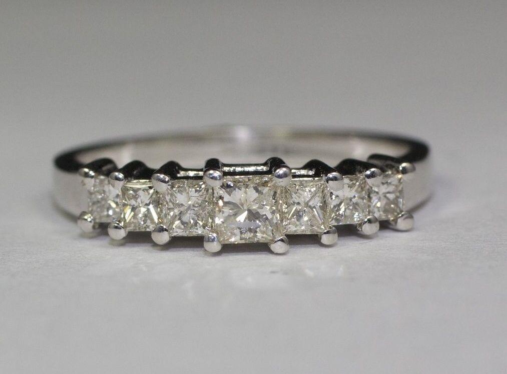 14K White gold 7 White Princess Cut Diamonds Si2-H .64cttw Diamond Ring Size 6