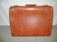 VINTAGE LEATHER SUITCASE EAGLE STAN WOODS KALAMAZOO