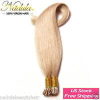 100s Pre-bonded Fusion Stick I Tip Glue Remy Straight Human Hair Extensions 18