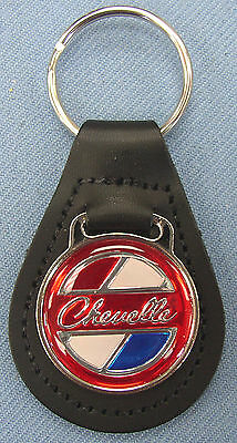 Vintage Red Chevrolet CHEVELLE Black Leather USA Keyring 1970 1971 1972 Chevy