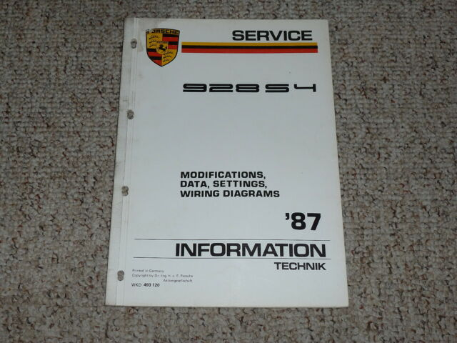 1987 Porsche 928s4 928 S4 Wiring Diagrams Data Settings Service Repair Manual