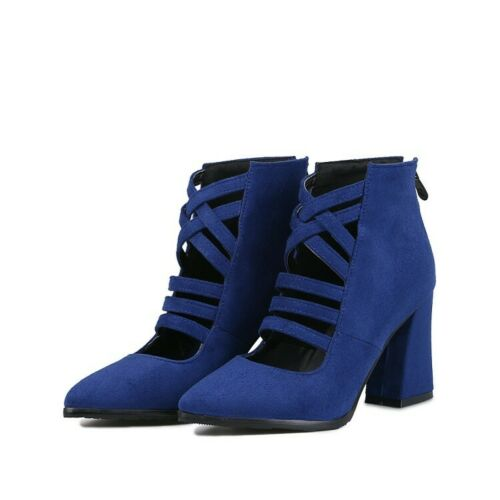 Details about  /Womens Cut-Out Ankle Boots Block Heels Faux Suede Back Zipper Pointed Toe Shoes