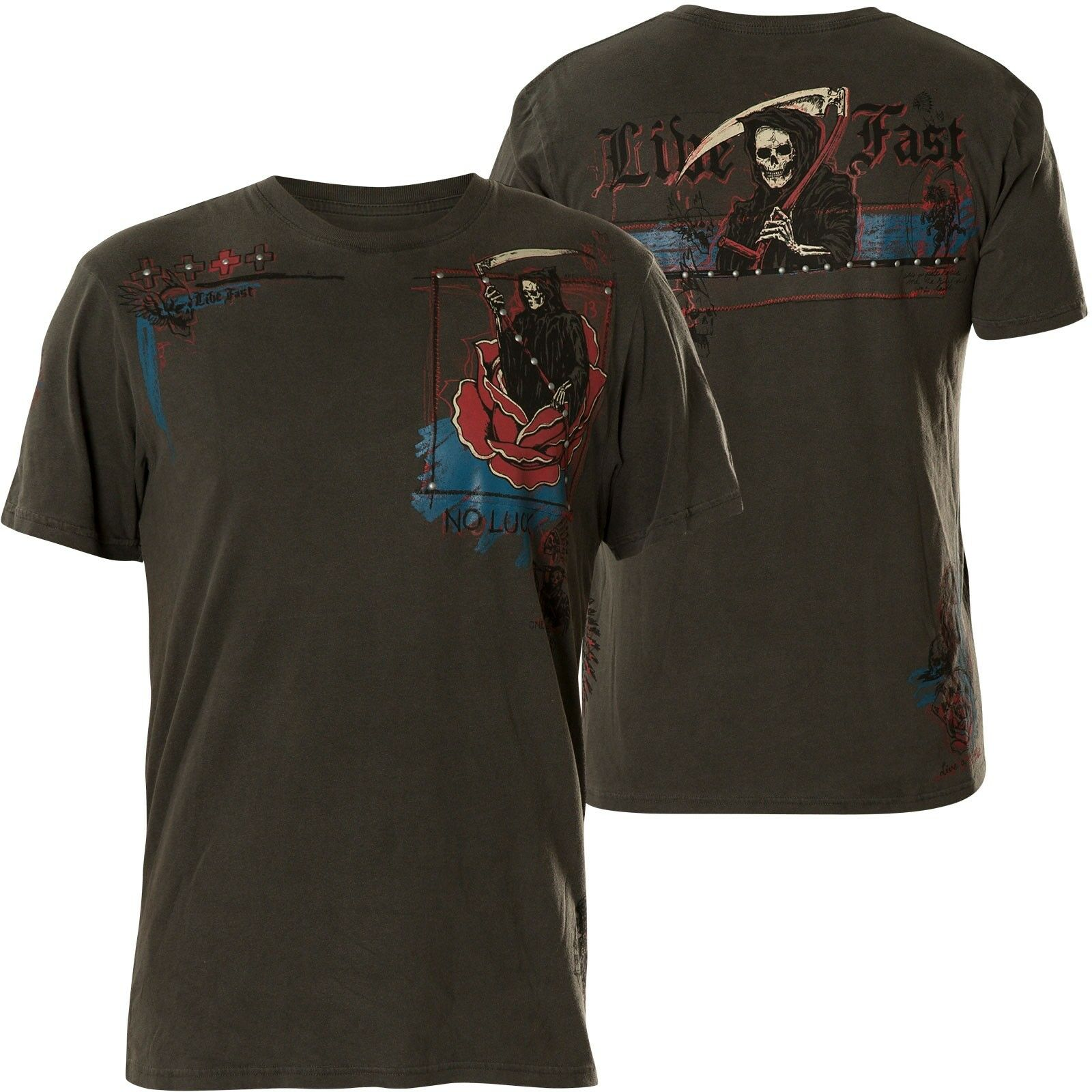 Affliction T-SHIRT ONE CHANGE Grigio Scuro T-shirts
