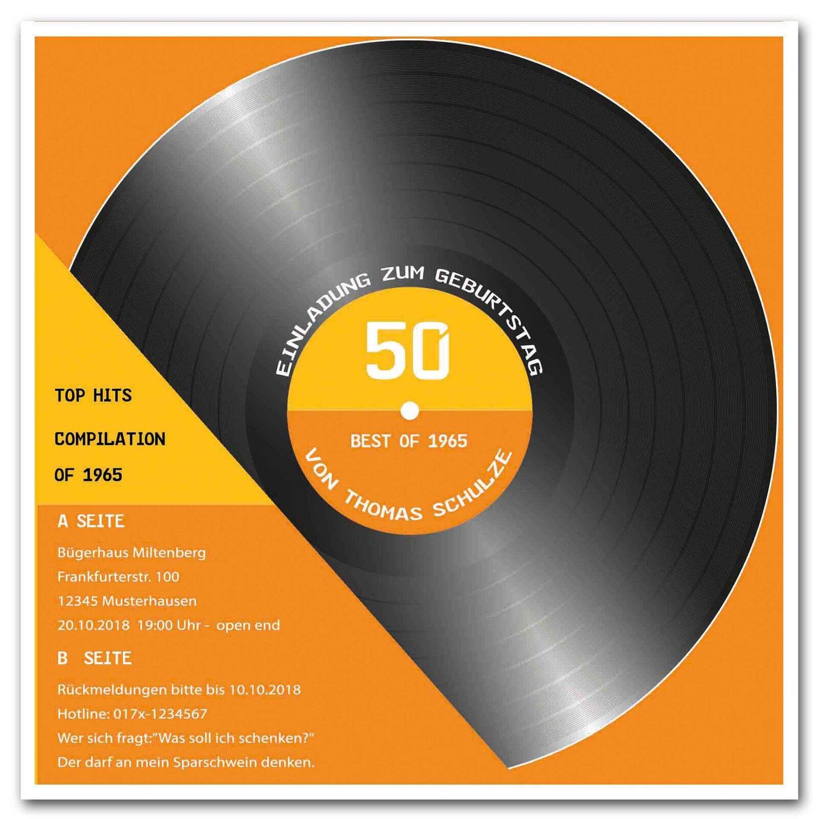 Einladungskarte 50 30 40 Einladung Geburtstagseinladung Schallplatte Geburtstag