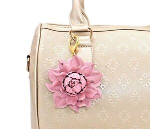 Image Is Loading Real Leather Flower Bag Charm Pink Rose Purse