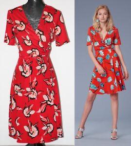 4ad89a2618ae7 Diane von Furstenberg Short Sleeve Flared Silk Jersey Wrap Dress sz ...