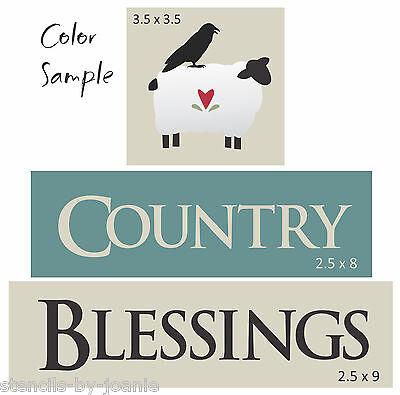 Joanie Stencil Country Blessings Prim Sheep Crow Heart Kitchen Farm U paint sign