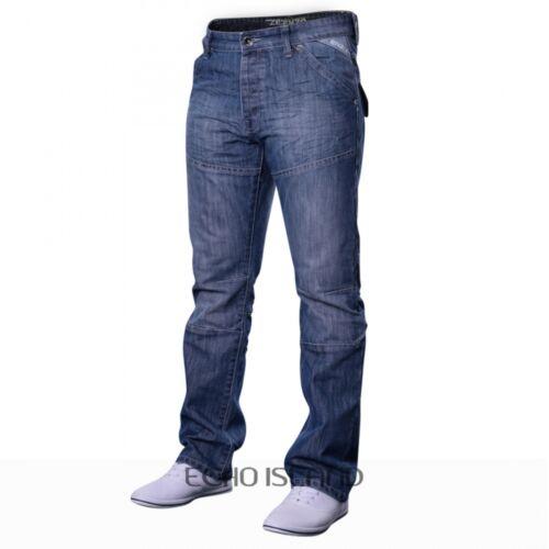 Men/'s Designer Enzo EZ243 EZ244 Regular Fit Straight Leg Jeans Light Dark Wash
