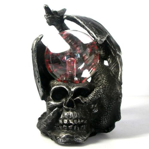 Mysticism Gothic Dragon On Skull Light Plasma Ball Touch Decor Figurine Statue