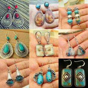 Vintage-Boho-925-Silver-Turquoise-Gemstone-Drop-Dangle-Hooks-Earrings-Wholesale
