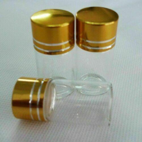 10Pcs 7ml Tiny Small Glass Botle New Clear Empty Bottle Glass Vials W// Screw Cap