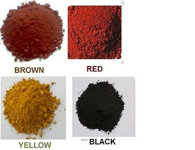 Yellow, Spanish Red, Brown and Black Iron Oxide (1-3 oz of each (4-12 oz total))