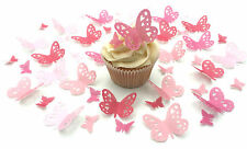 48 Edible Shades of Pink Heart Detail Butterflies PreCut Wafer cake Toppers