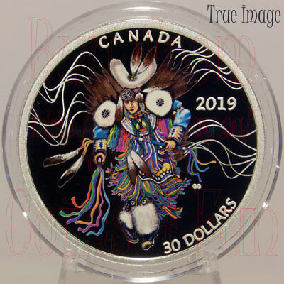 Canada $30 2 OZ Pure Silver Coloured Coin 2019 Powwow Fancy Dance