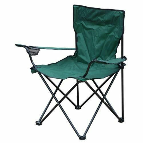 Canvas Folding Green Camping Garden Chair with Cup Holder and Arms