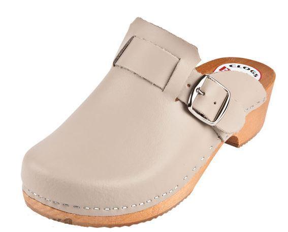 femmes   Wooden   leather clogs  PM  Beige Couleur