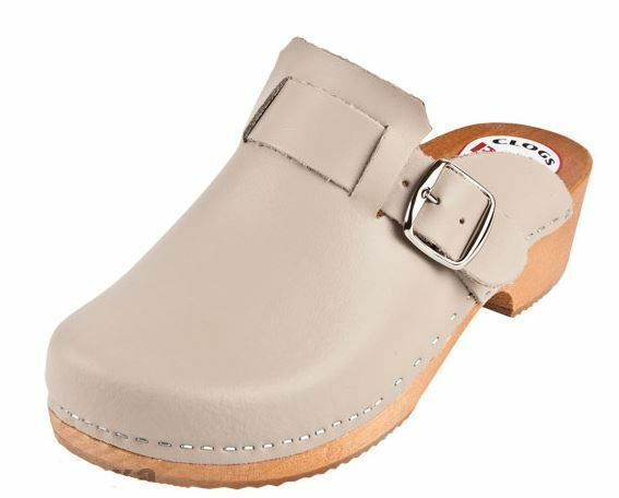 Damens   Wooden   Leder clogs  PM  Beige color
