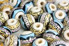 Peruvian Ceramic hand painted beads Clay beads Glazed beads mix x 25