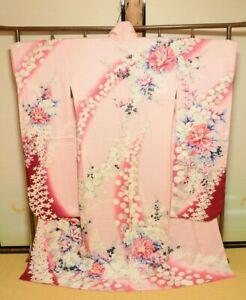 Furisode-Silk-Kimono-Women-Japanese-Vintage-Robe-Pink-Flower-164cm-728