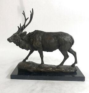 Signed-Milo-Male-Deer-Stag-Buck-Wildlife-Bronze-Sculpture-Statue-Figurine-Decor