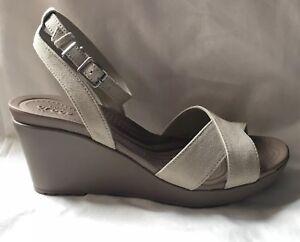 Oatmeal NEW +Crocs Leigh II Cross Strap Wedge Sandals Women/'s Size 11